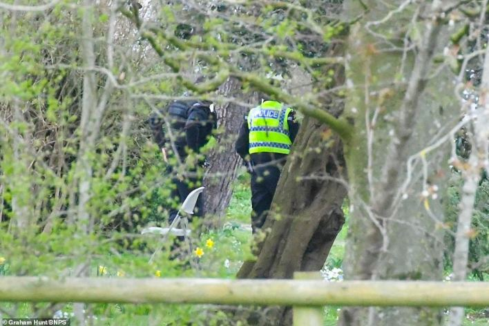 Officers were yesterday seen searching a wooded area of the estate, near to Gillingham in Dorset