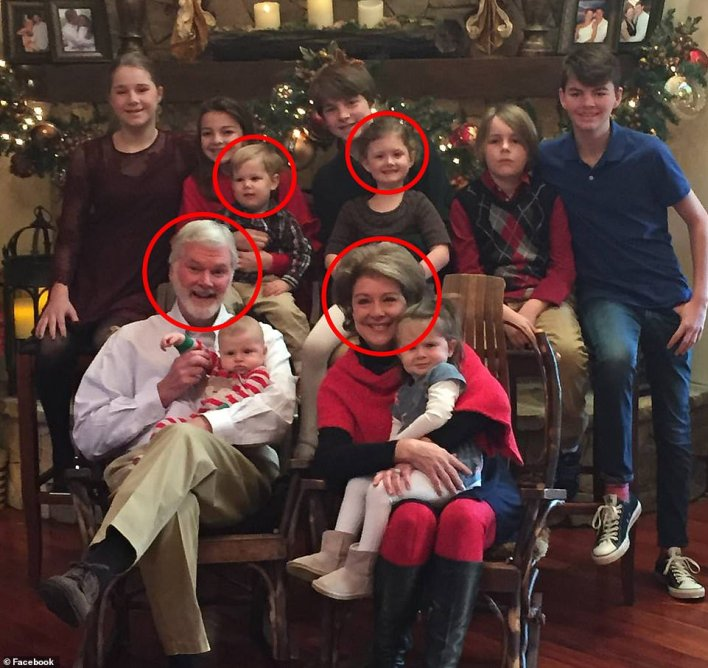 This photo shows Dr Lesslie, his wife and their two grandchildren who perished in the massacre on Wednesday (circled in red).Lesslie, a prominent doctor who once treated Adams, and his wife, Barbara, 69, were pronounced dead at the scene along with grandchildren Adah Lesslie, 9, and Noah Lesslie, 5, the York County coroner's office said