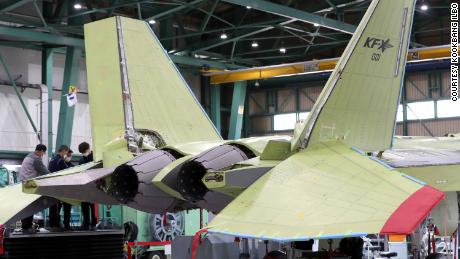 The KF-21 on the production line in South Korea earlier this year.