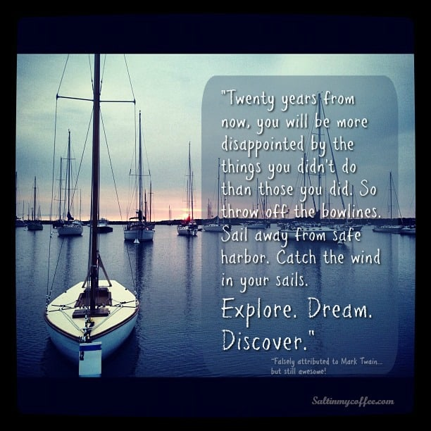motivational ship meme Mark Twain quote
