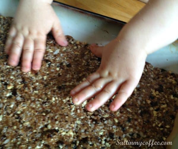 making granola bars with kids