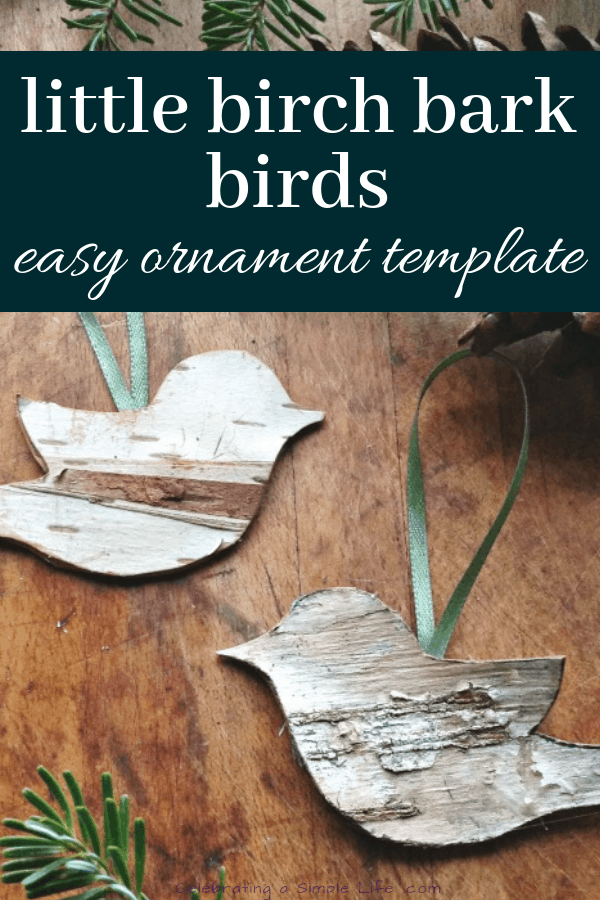 Little birch bark birds make easy handmade ornaments, and they're so adorable!!! #handmadechristmas #farmhousechristmas #christmascrafts #handmadeornaments #countrychristmas #oldfashionedchristmas