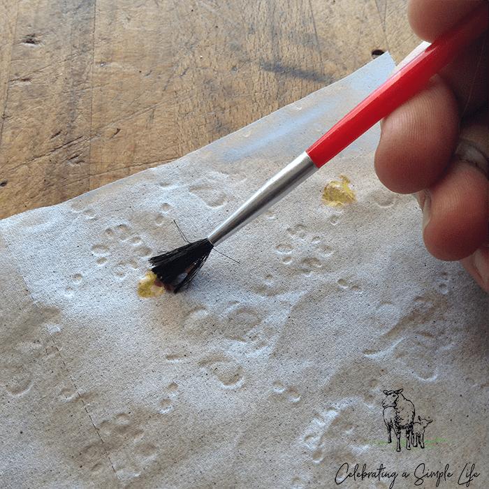 brushing on egg yolk for making seed tape