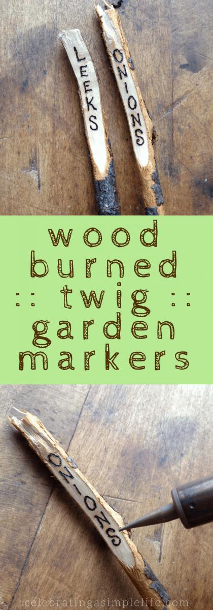 wood burned twig garden markers