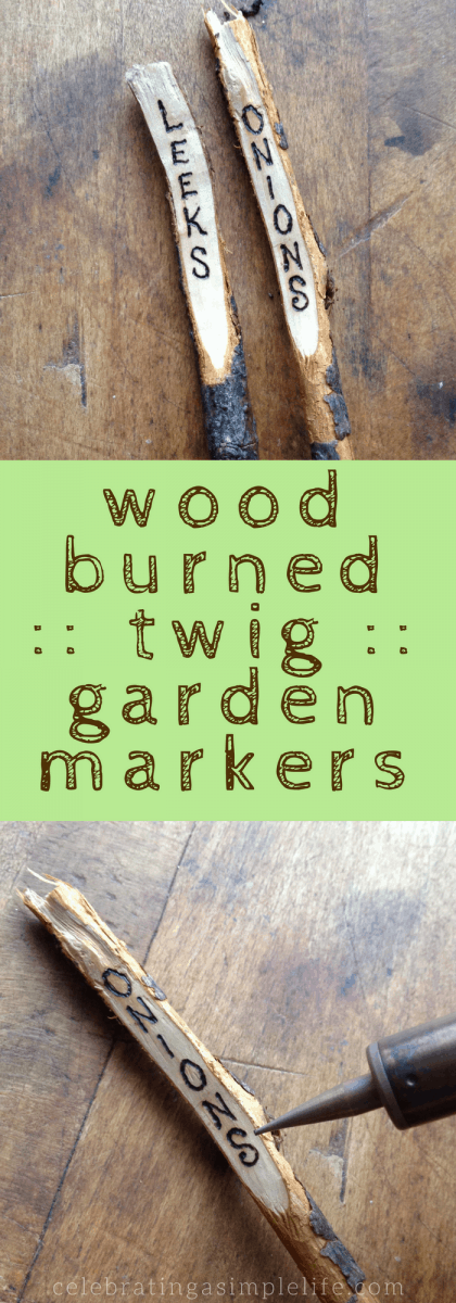 wood burned twig garden markers