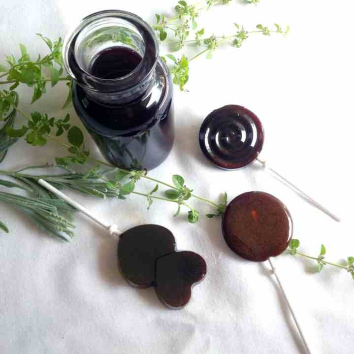 lollipops made with elderberry syrup