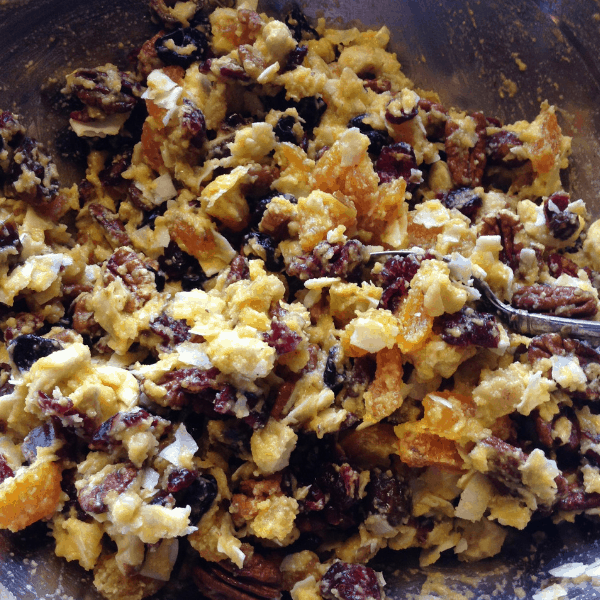batter for paleo dried fruit and nut bars