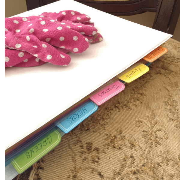how to organize garden seeds in a 3 ring binder