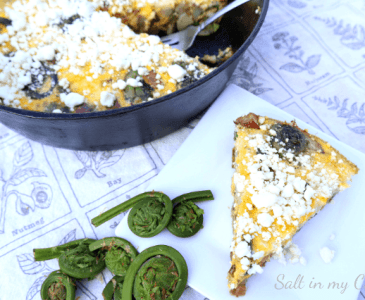 fiddlehead frittata with bacon and chevre