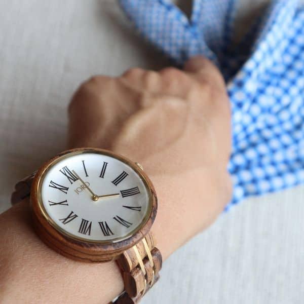 wooden watch with gardening gloves