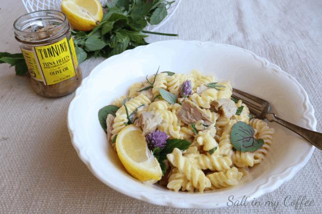 fusilli alfredo with lemon tuna and herbs