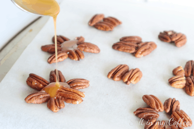 pouring caramel for paleo maple caramel turtles
