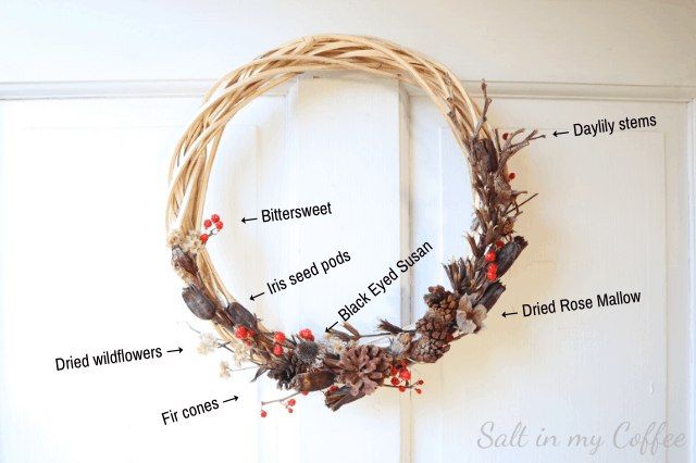 ideas for making a foraged winter wreath