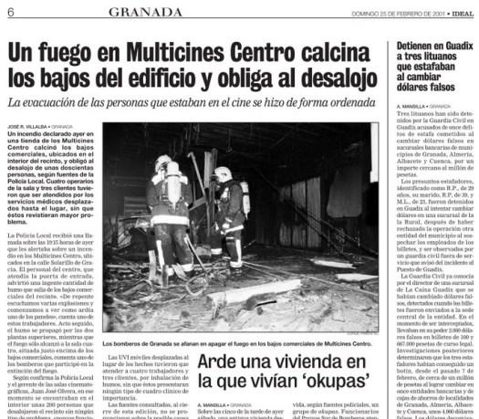 Recorte de prensa sobre el incendio de Multicines Centro