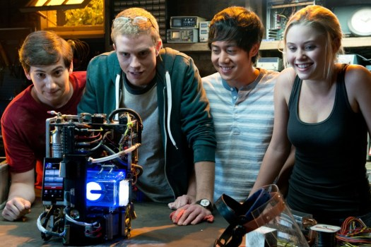 PROJECT ALMANAC - 2015 FILM STILL -Left to right: Sam Lerner is Quinn Goldberg, Jonny Weston is David Raskin, Allen Evangelista is Adam Le, and Virginia Gardner is Christina Raskin - Photo Credit: Guy D'Alema  © 2015 Paramount Pictures.  All Rights Reserved.