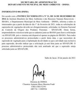 0001-1-252x300 Informativo 001-DMMA Normas sobre supressão de vegetação