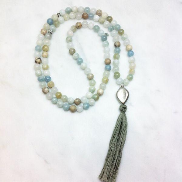 aquamarine and opal mala
