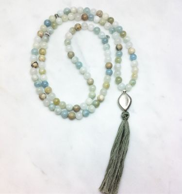 aquamarine and opal mala