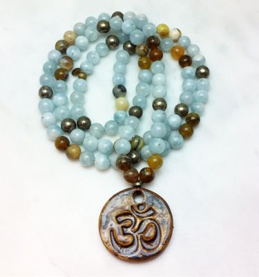 aquamarine mala necklace