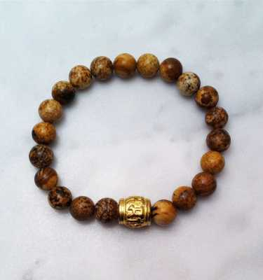 picture jasper mala bracelet with mantra