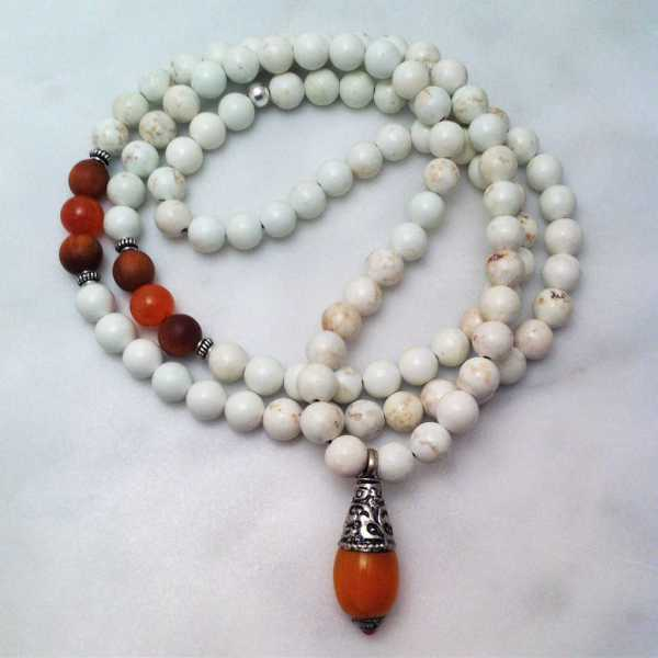 magnesite mala necklace with amber amulet