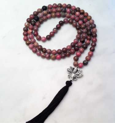rhodonite mala beads with lotus