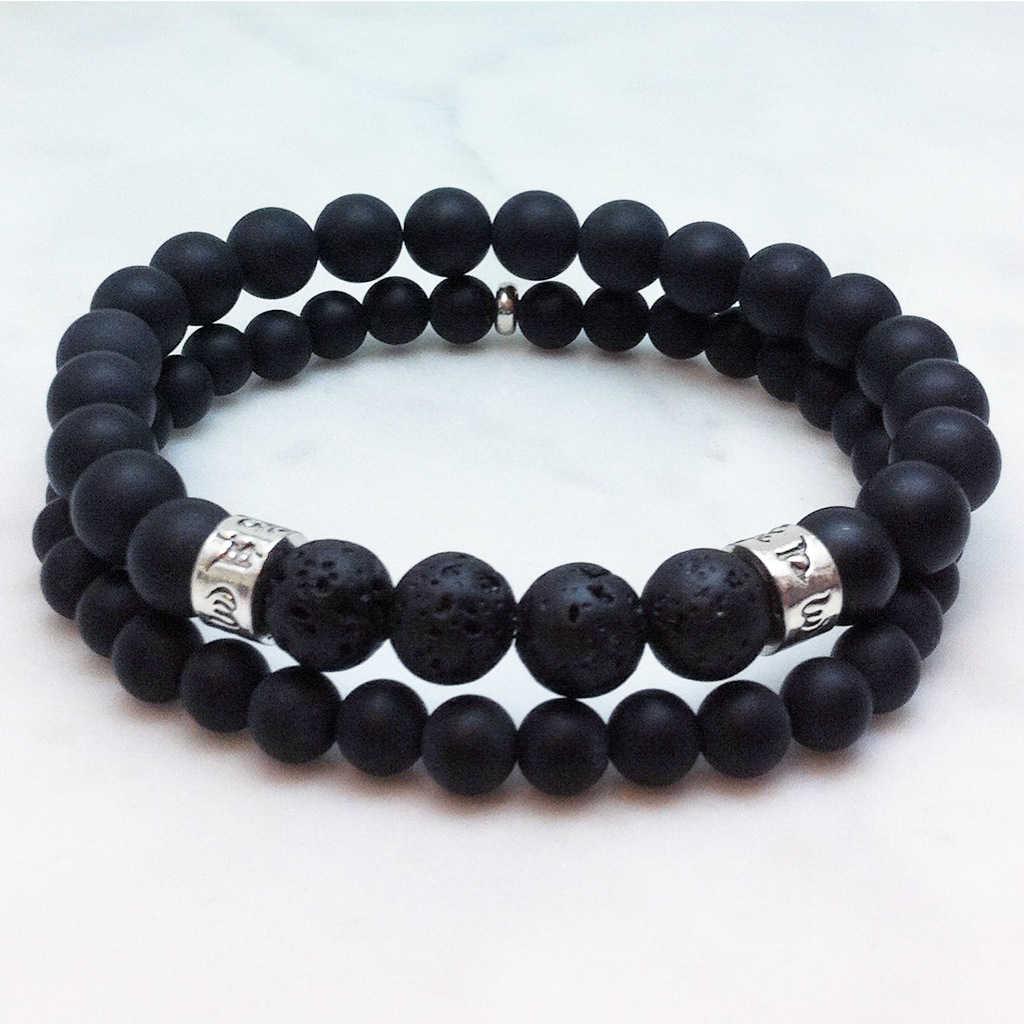 Balance Mens Mala Bracelet Black Agate For Balance And Peace
