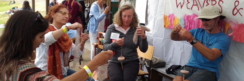 Weaving classes at the fall fair.