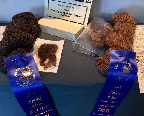 Wool piled - spun from fibre prepared by artist