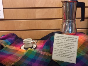 Colour gamp napkins at the library display November 2020