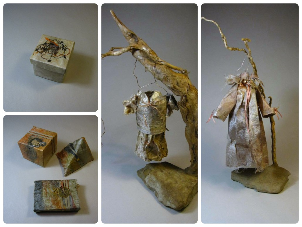 Silk fusion boxes and trees by Ada Marie