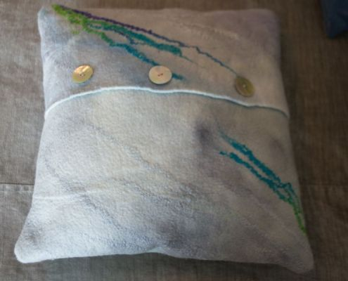 Back view of Nuno Felted Pillow by Judith