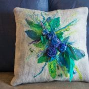 Front view of Nuno Felted Pillow by Judith