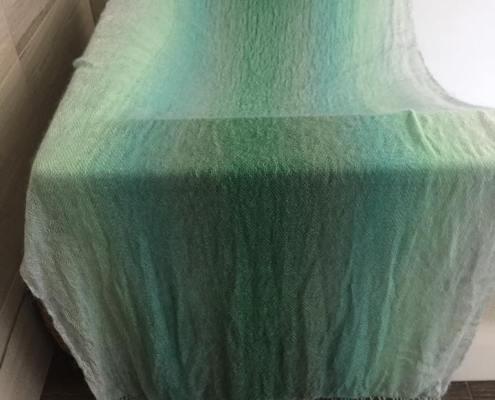 variegated green silk mohair shawl