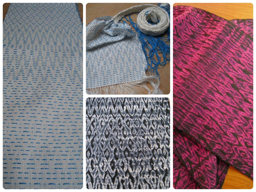 Rosepath shibori scarf woven on 8-shaft loom