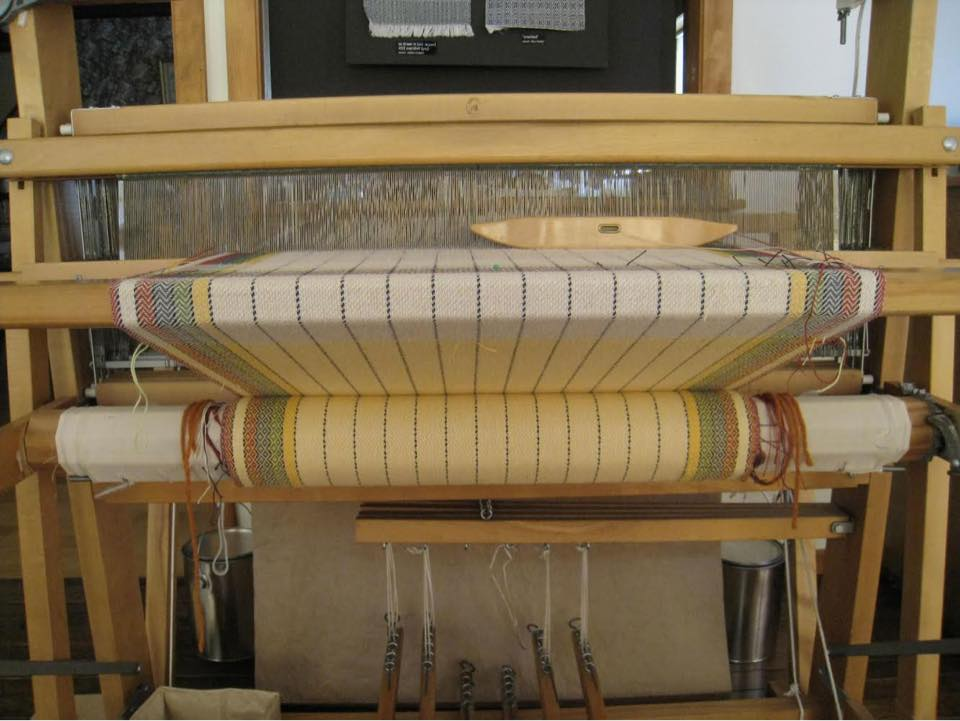 Old Fashioned Twill Tea Towel on studio loom