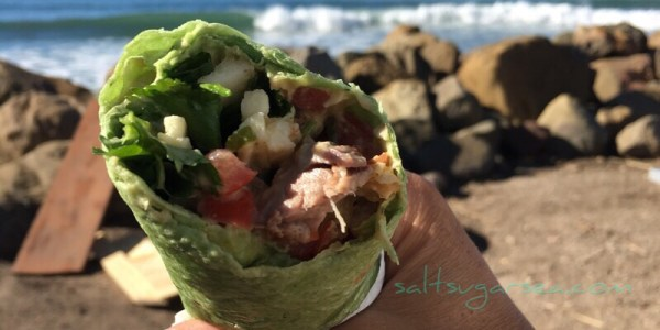 Steak and cilantro wrap with fresh salsa at the beach