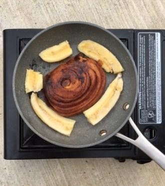 Pan fried bananas and cinnamon swirl bread