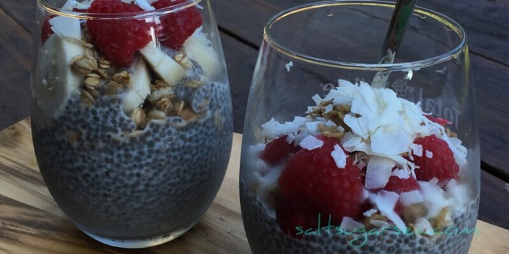 Chia seed pudding with coconut and raspberries