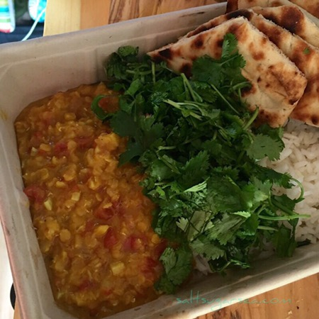 Autumn Gold Dal with jasmine rice and cilantro