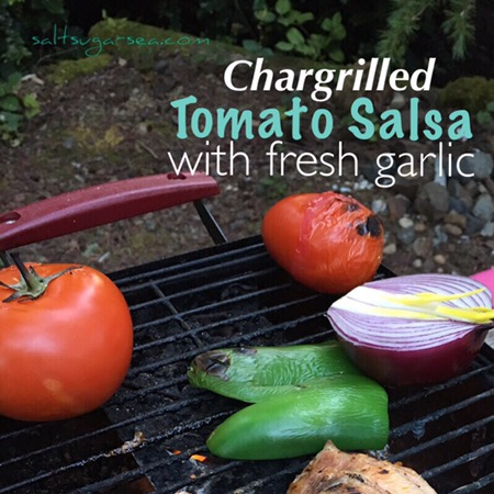 Grilled tomato and jalapeño for chargrilled tomato salsa