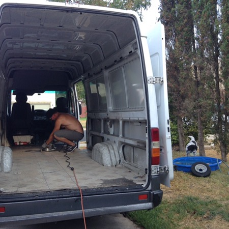 Van conversion demo flooring