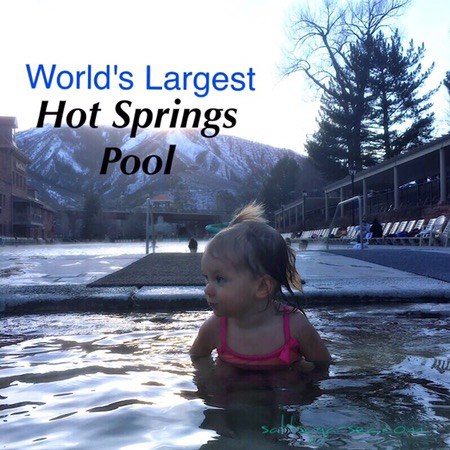 Baby soaking in world's Largest hot springs pool