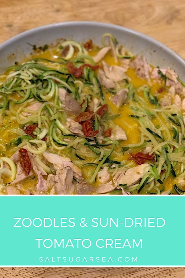 Zoodles and sun-dried tomato cream