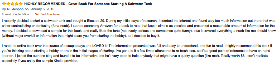 5 star product review on Amazon for book 1 of the reef aquarium series