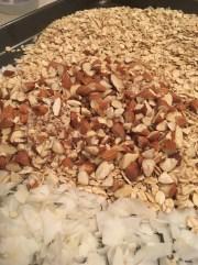 3) Bake almonds, oats & shredded coconut