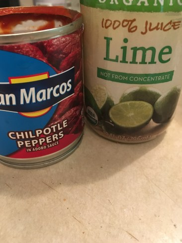 1) Puree one can of chipotle pepper and add 1/2 cup of lime juice