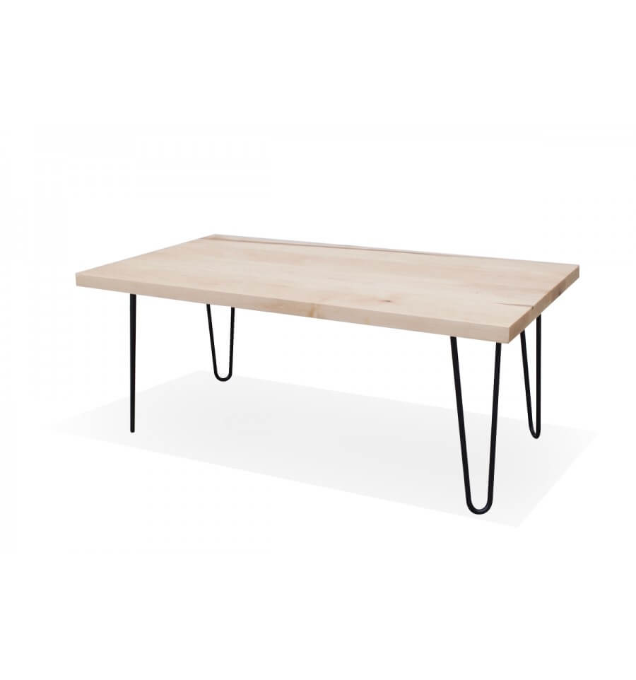 maple coffee table w hairpin legs