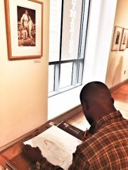 Students at SRJC drawing from Caren Catterall prints