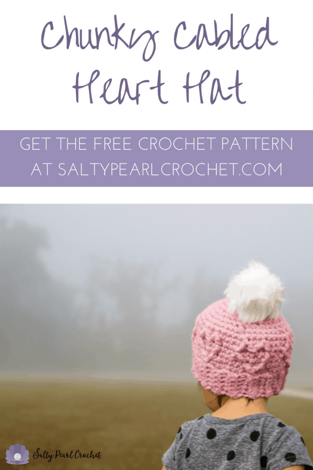 Get the FREE Chunky Cabled Heart Hat Crochet Pattern at SaltyPearlCrochet.com!